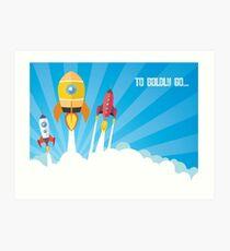 cartoon spaceships launch Art Print