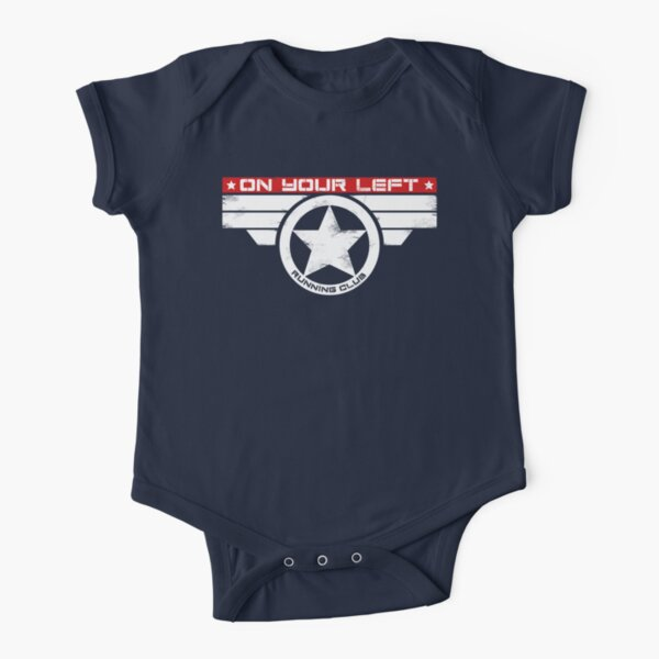 """On Your Left Running Club"" Hybrid Inverted Short Sleeve Baby One-Piece"