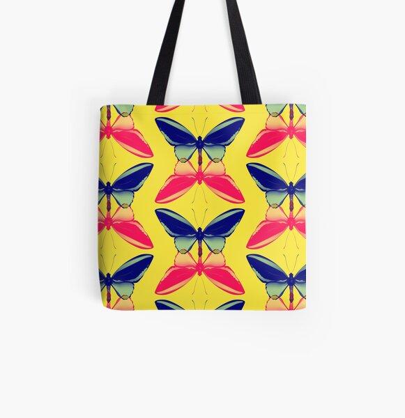 Blue & Pink Butterflies Digital Art All Over Print Tote Bag