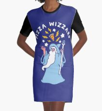 Magical Pizza Wizzard Graphic T-Shirt Dress