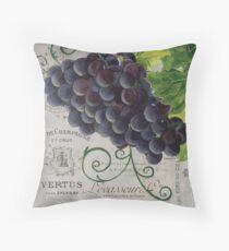 French Purple Grapes Throw Pillow