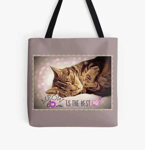 Meow Love is the Best All Over Print Tote Bag