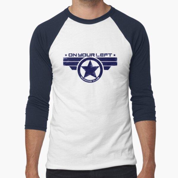 """On Your Left Running Club"" Hybrid Distressed Print 1 Baseball ¾ Sleeve T-Shirt"