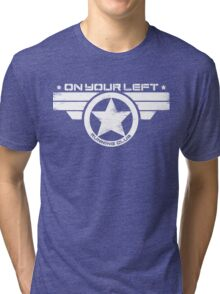 """""""On Your Left Running Club"""" Distressed Print 2 Tri-blend T-Shirt"""