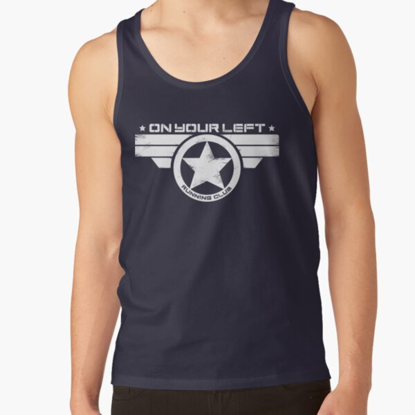 """""""On Your Left Running Club"""" Distressed Print 2 Tank Top"""