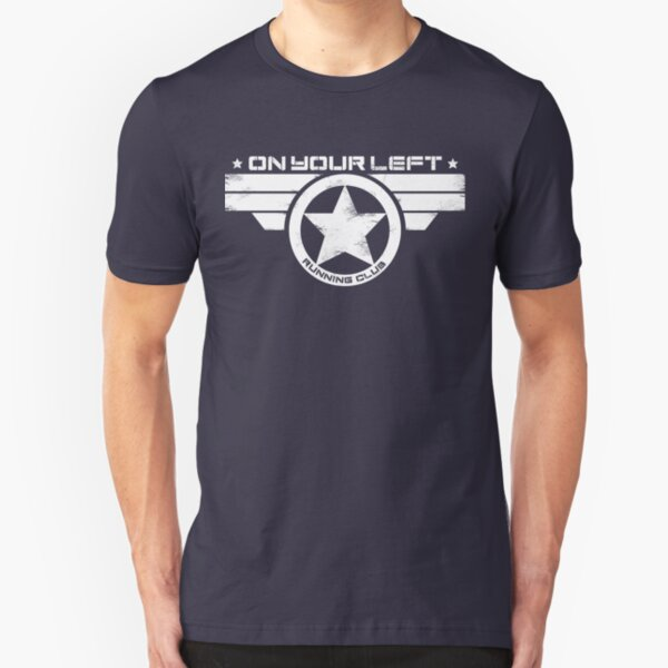 """On Your Left Running Club"" Distressed Print 2 Slim Fit T-Shirt"