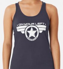 """On Your Left Running Club"" Distressed Print 2 Racerback Tank Top"