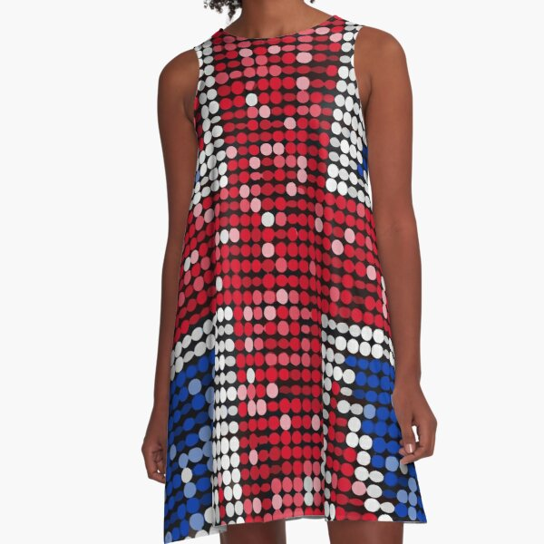 Union Jack Flag UK Sequin A-Line Dress