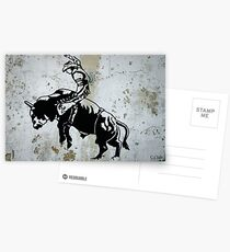Western Cowboy Riding Bull Rodeo Postcards