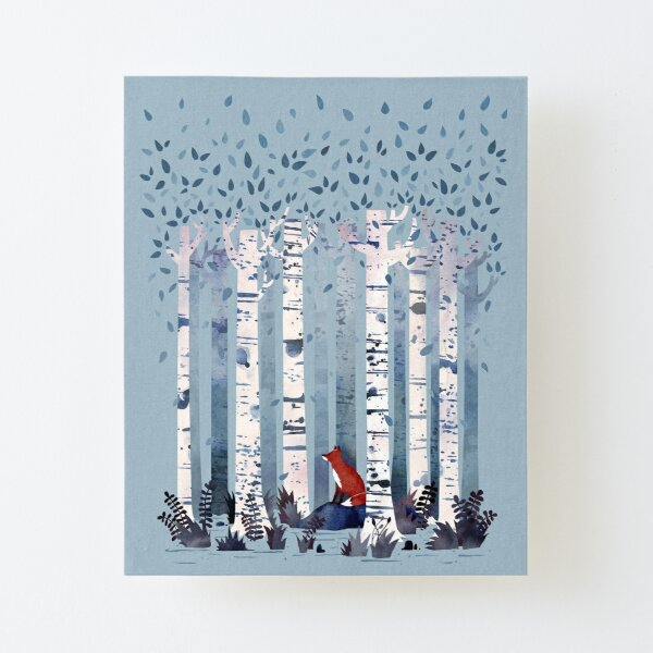 The Birches (in Blue) Canvas Mounted Print