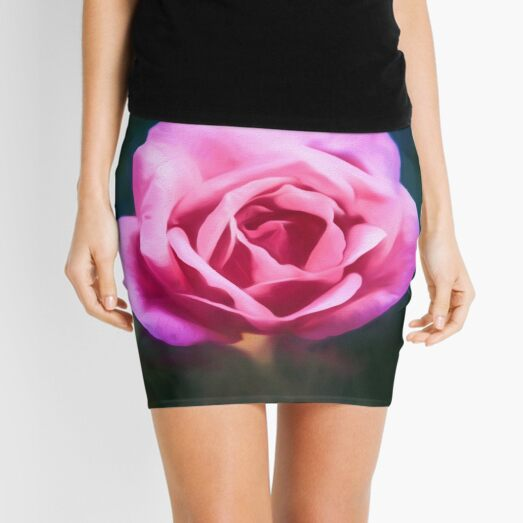 Pink Rose (digital painting) Mini Skirt