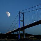 Moon over Bosphorus Bridge, Istanbul by Zoe Marlowe