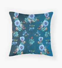 Cornflower Blues in Watercolor Throw Pillow
