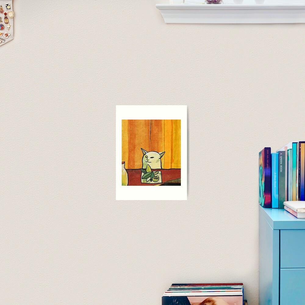 Picasso Cat Meme Paint Art Print