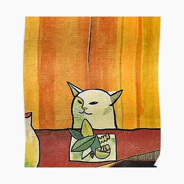 Picasso Cat Meme Paint Poster