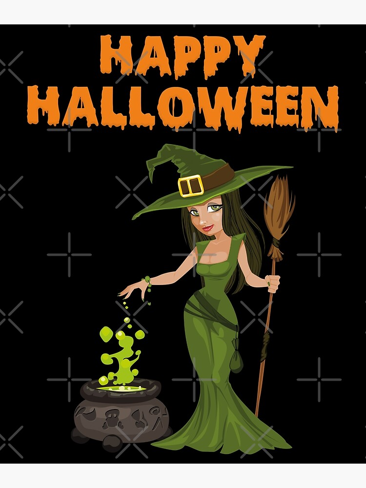 Happy Halloween Witch Witches Cauldron Greeting Card By Wolfgangrainer Redbubble