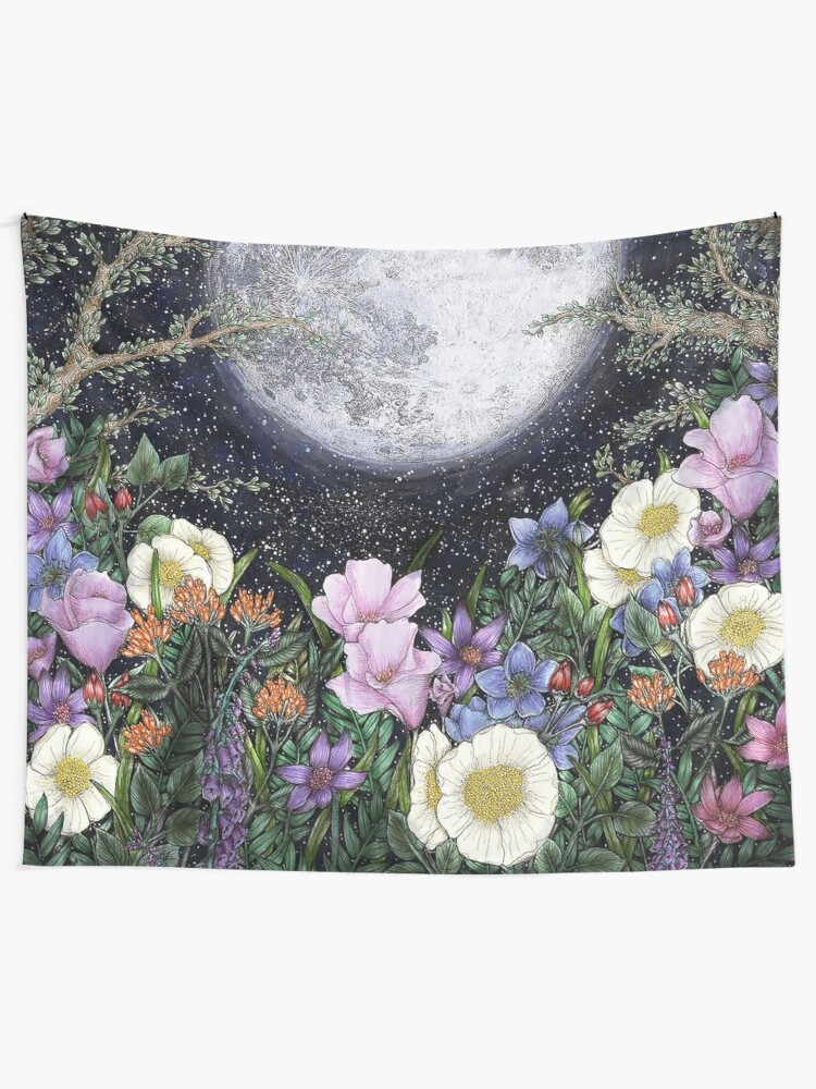 Alternate view of Midnight in the Garden II Wall Tapestry