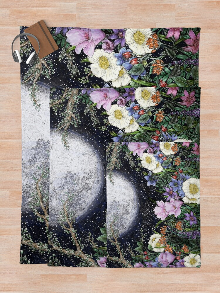 Alternate view of Midnight in the Garden II Throw Blanket