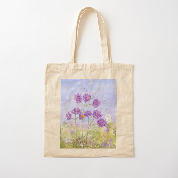 """""""Verbena, Butterflies and a Bee,"""" Whimsical Painting Cotton Tote Bag"""