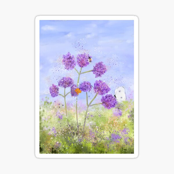 """""""Verbena, Butterflies and a Bee,"""" Whimsical Painting Sticker"""