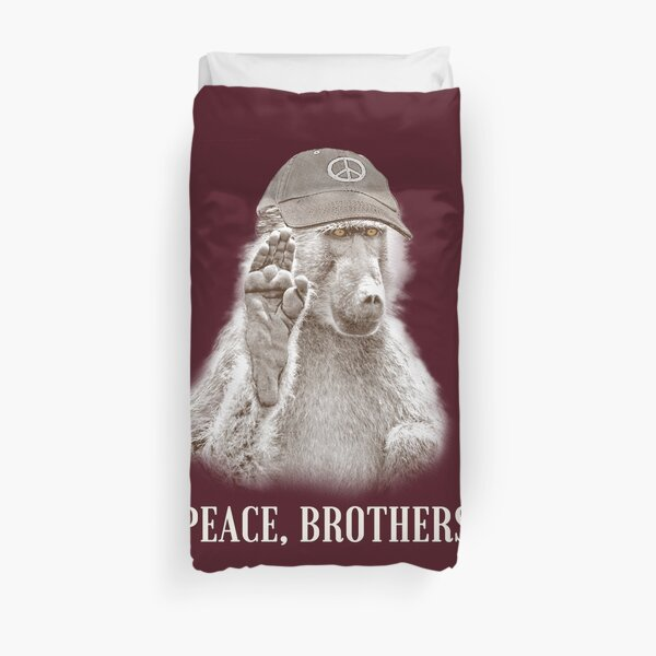 Baboon Making Peace Gesture, Calling on Human Brothers for Peace Duvet Cover