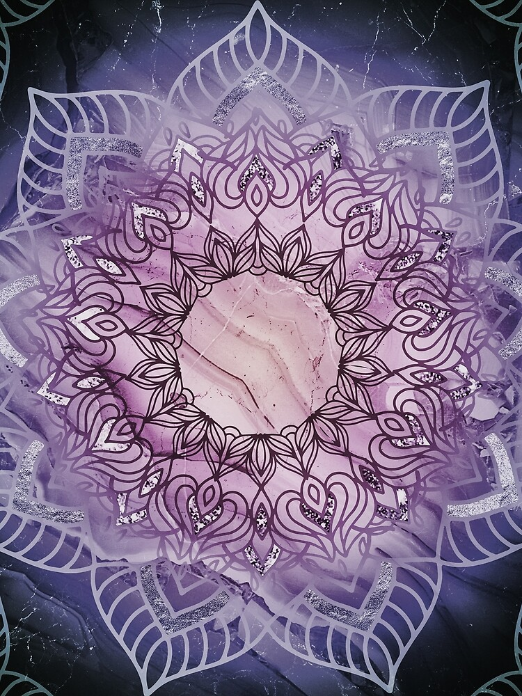 Stylish Mandala in Teal and Purple by Quaintrelle