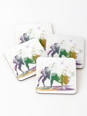 Bison in a colour storm Coasters