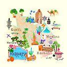 illustrated map of Marrakech by Elisandra Sevenstar