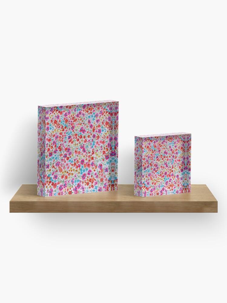 Vista alternativa de Bloque acrílico Vintage colorful pink teal red floral pattern