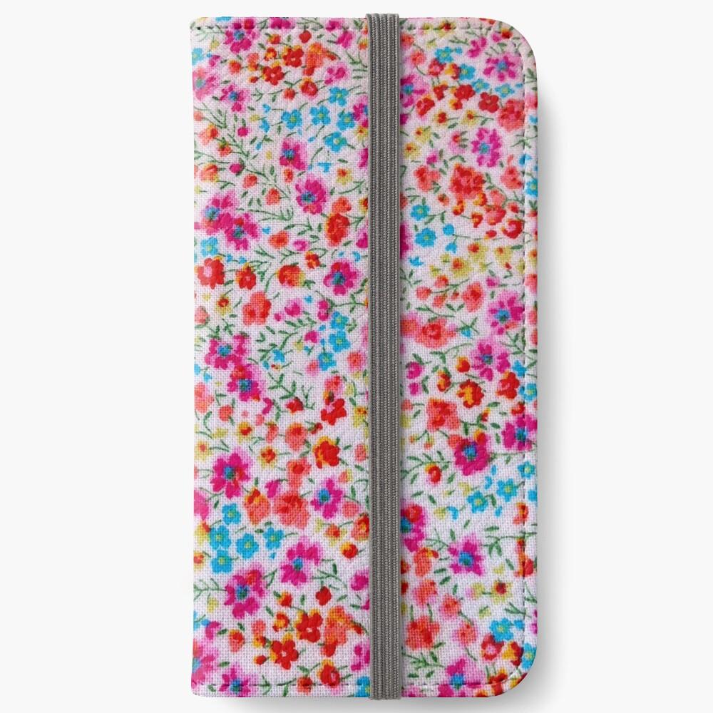 Vintage colorful pink teal red floral pattern Fundas tarjetero para iPhone