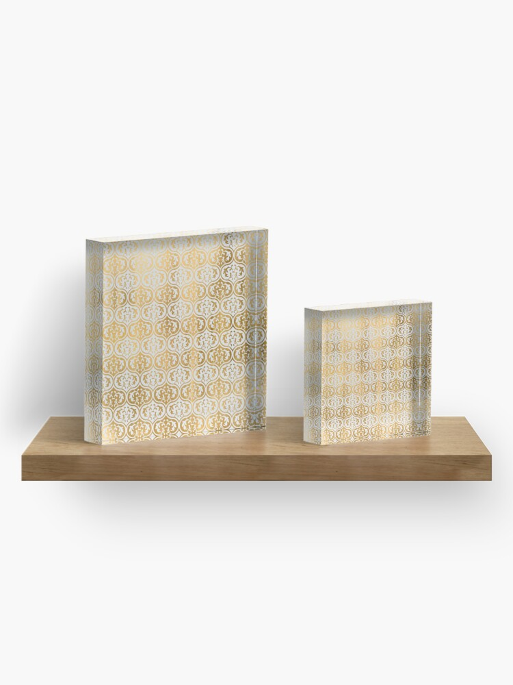 Vista alternativa de Bloque acrílico Elegant chic gold faux leaf floral damask pattern