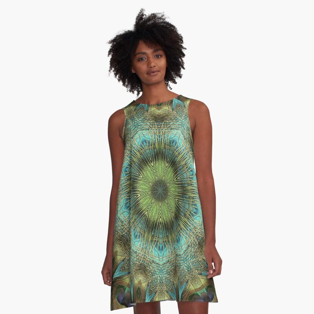 Mandala Of Peacock Eyes A-Line Dress
