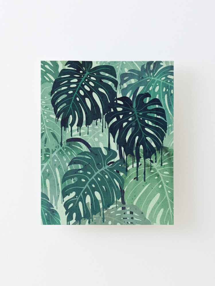 Alternate view of Monstera Melt (in Green) Mounted Print