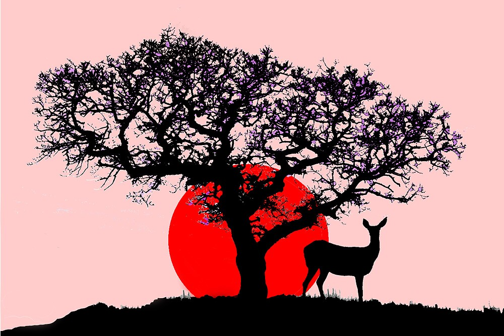 Deer at Sunset by Mike Paget