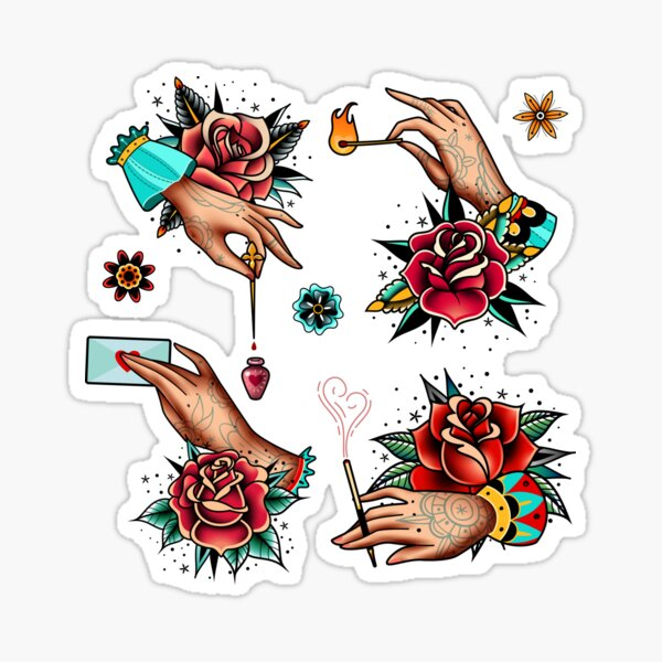 Old school images of tattooed hands and roses Sticker