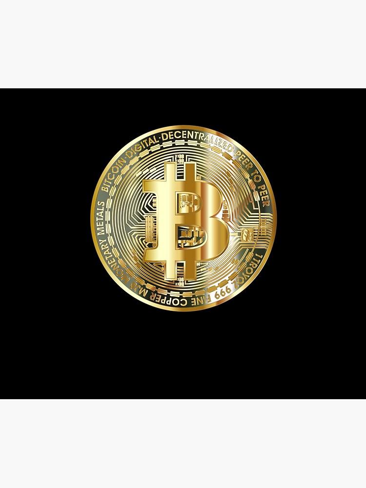 Golden Bitcoin Coin T-Shirt Bitcoin Investor Logo Crypto Fan by TheCreekMan
