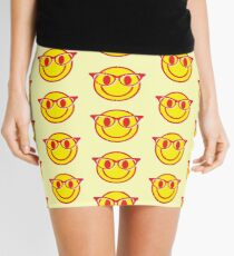 Smiley face with hipster glasses Mini Skirt
