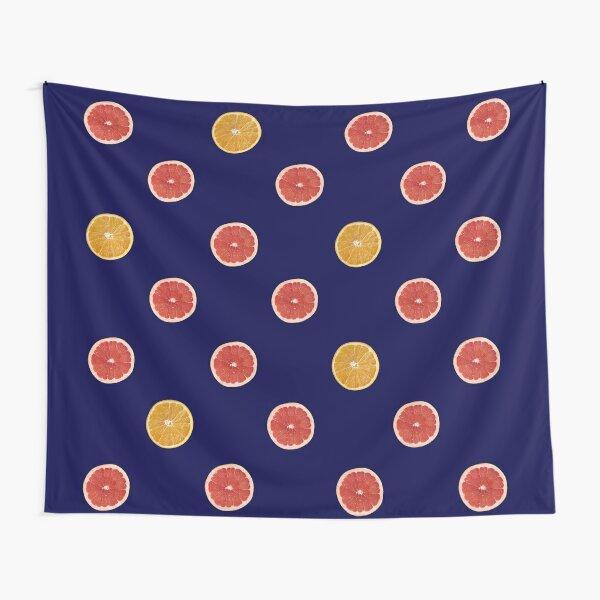 Ruby Grapefruit and Orange Halves in Polka Dot Pattern Tapestry