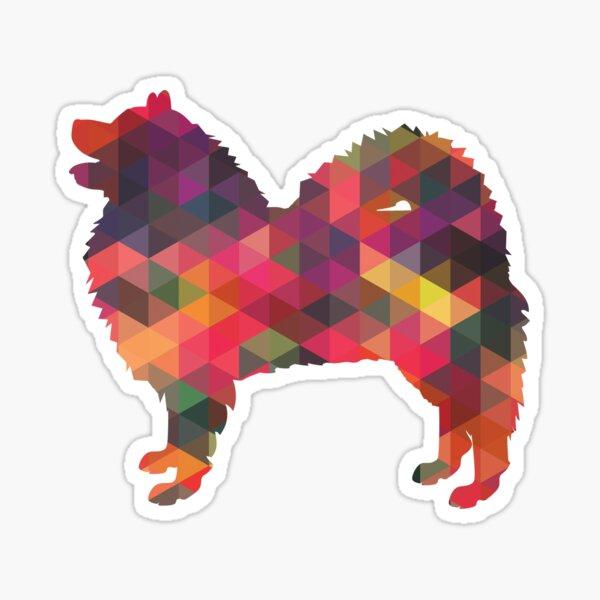Samoyed Dog Breed Geometric Pattern Silhouette Multi Sticker