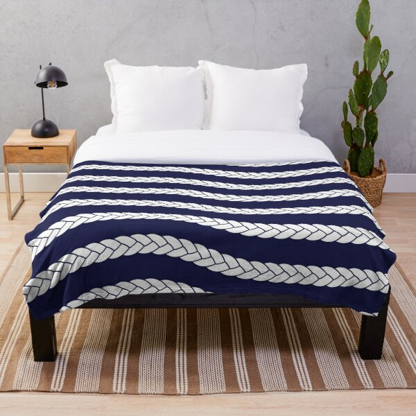 Nautical Braid in Navy and White Throw Blanket