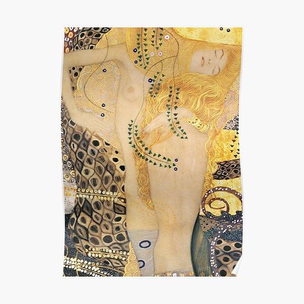 Water serpent I by Gustav Klimt  -Gold Mermaid Art Nouveau Symbolism Poster