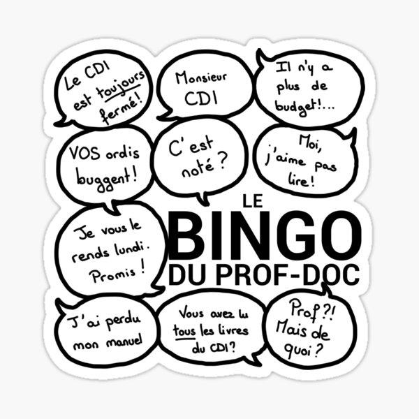 Le bingo du prof-doc (version homme) Sticker