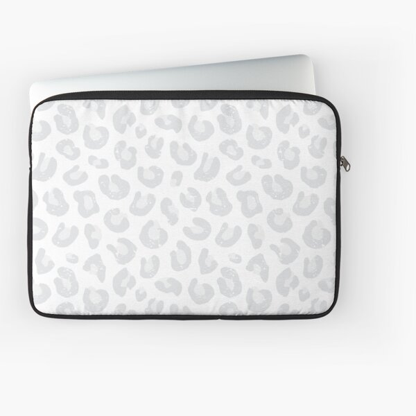 Leopard Print - Silver Gray and White  Laptop Sleeve