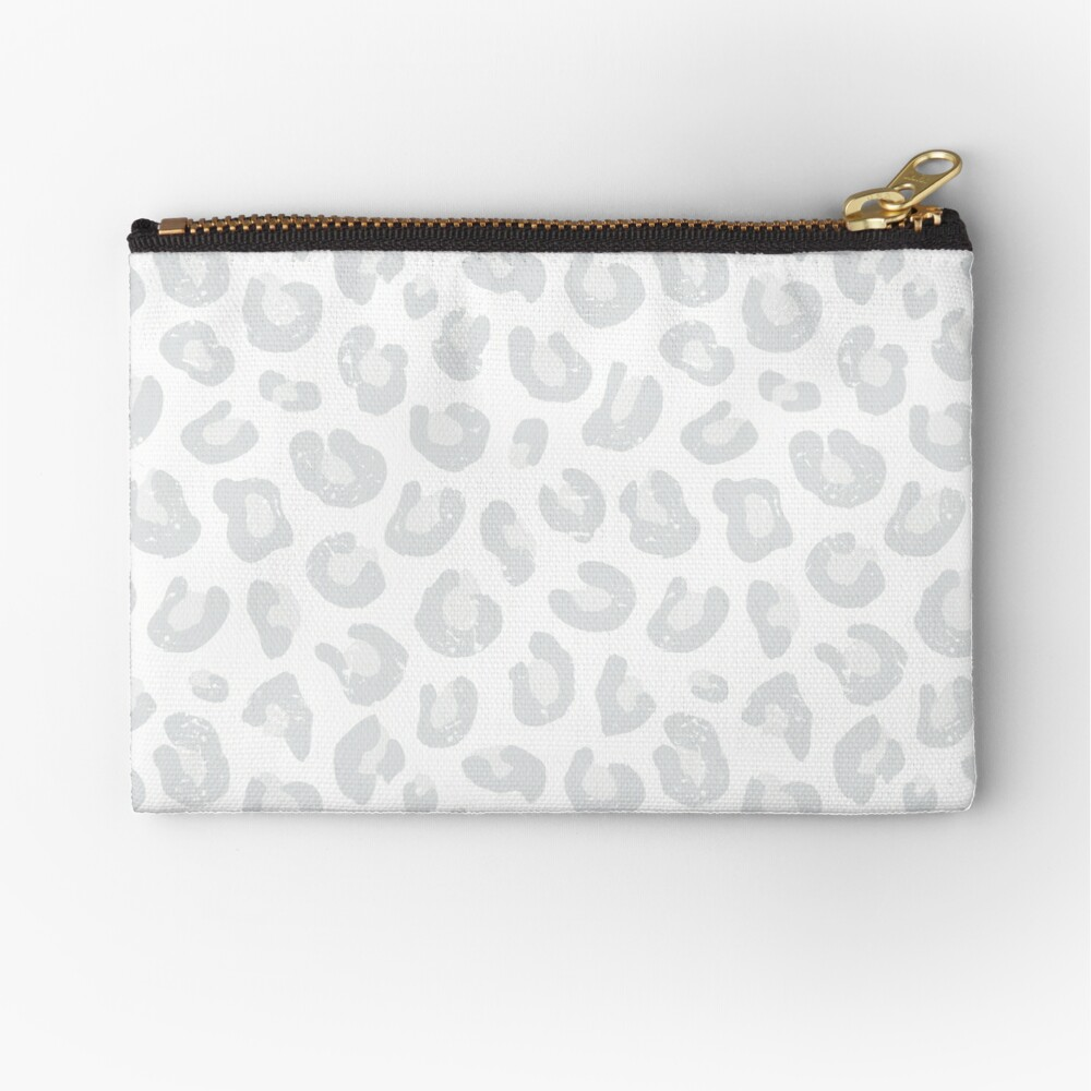 Leopard Print - Silver Gray and White  Zipper Pouch