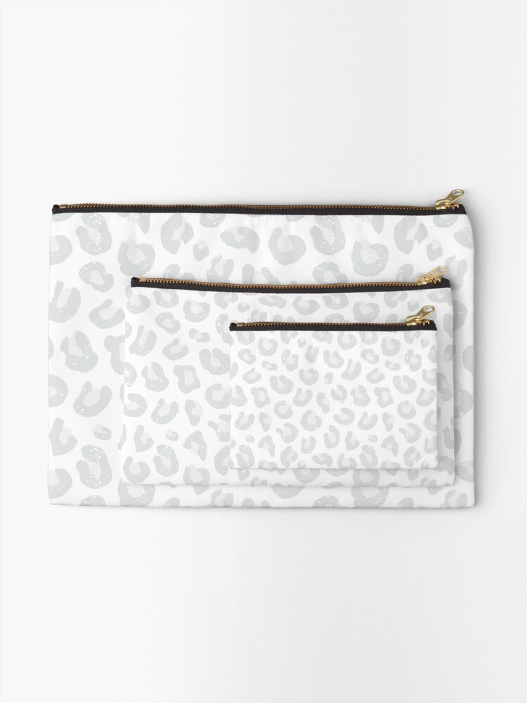 Alternate view of Leopard Print - Silver Gray and White  Zipper Pouch