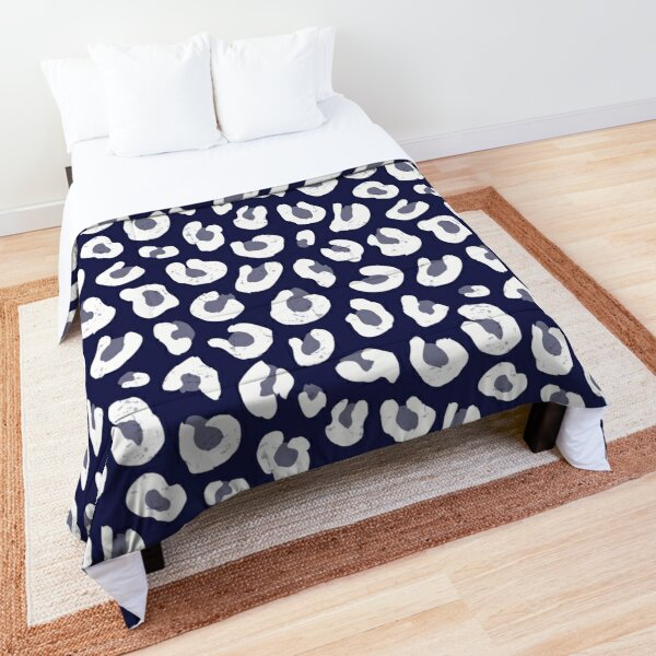 Leopard Print - Navy Blue and White  Comforter