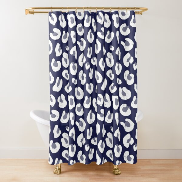 Leopard Print - Navy Blue and White  Shower Curtain
