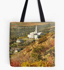 Bountiful LDS Temple - Fall Vertorama Tote Bag