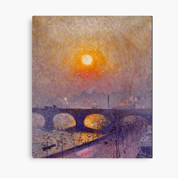 LONDON. Sunset over Waterloo Bridge, 1916. Emile Claus. Canvas Print