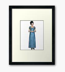 Regency Woman in Blue Dress Framed Print
